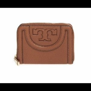 Tory Burch 'Serif T' Leather Coin Case -Burk